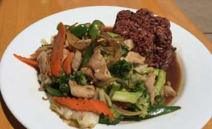 Pad Prik Sot over Rice
