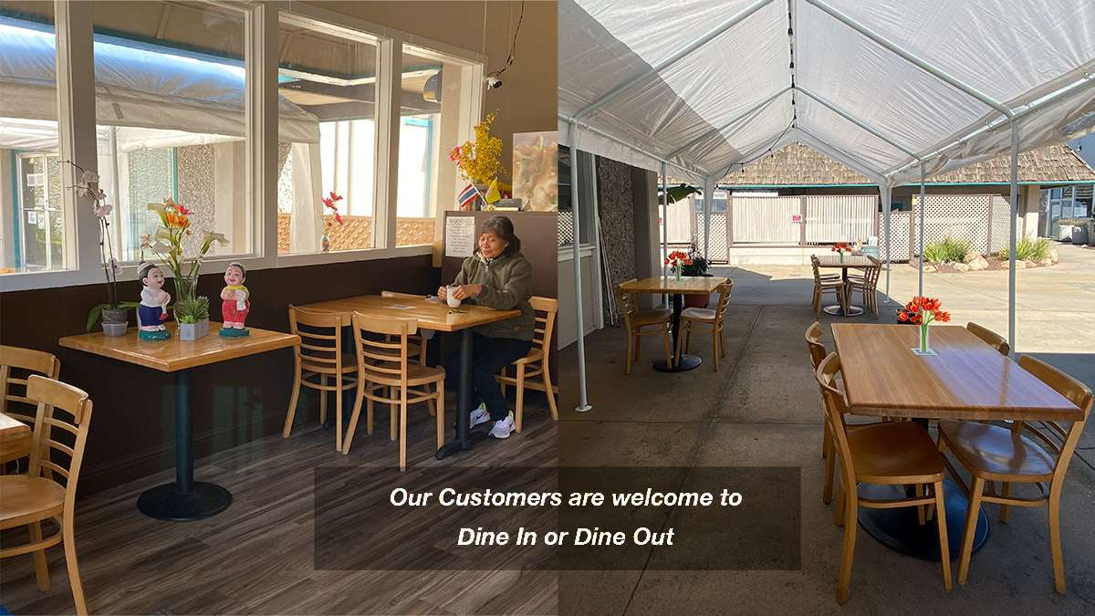 image shows indoor and outside dining areas